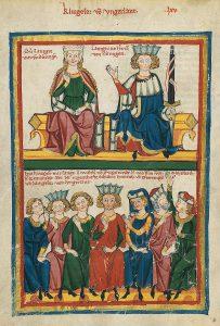 733px Codex Manesse Sängerkrieg auf der Wartburg